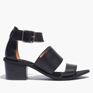 Madewell Black Strappy Heel Warren Leather Sandal